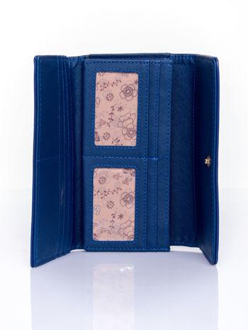 Granatowy portfel ze złotym zapięciem                                   zdj.                                  4