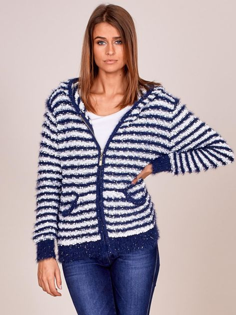 Granatowy rozpinany sweter w paski z kapturem                              zdj.                              1