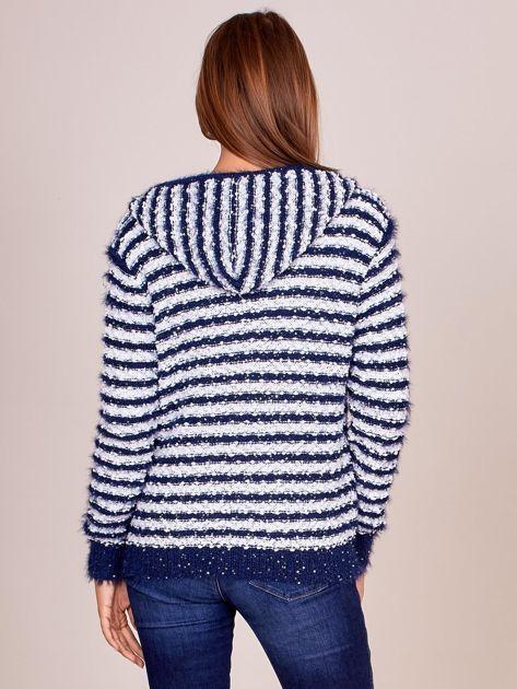 Granatowy rozpinany sweter w paski z kapturem                              zdj.                              2