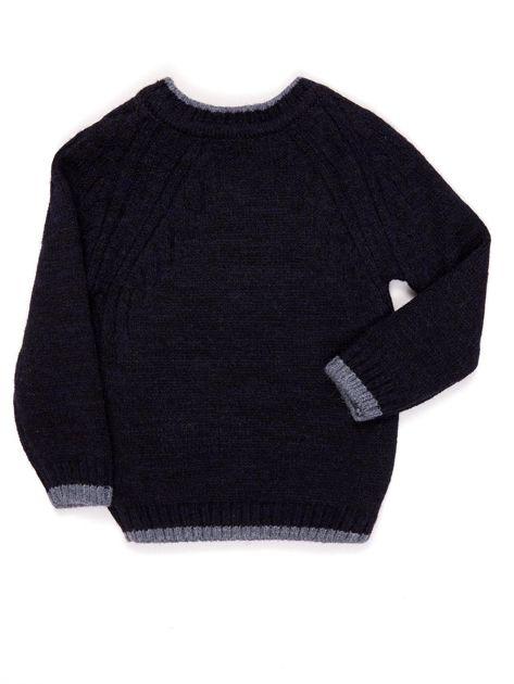 Granatowy sweter dla chłopca z napisem                              zdj.                              2