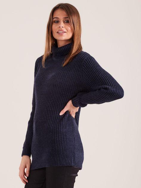 Granatowy sweter golf                              zdj.                              3