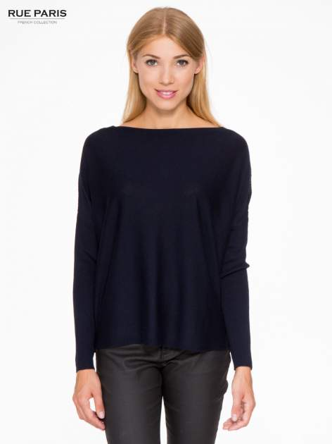 Granatowy sweter o nietoperzowym kroju z cekinową aplikacją na rękawach                                  zdj.                                  1