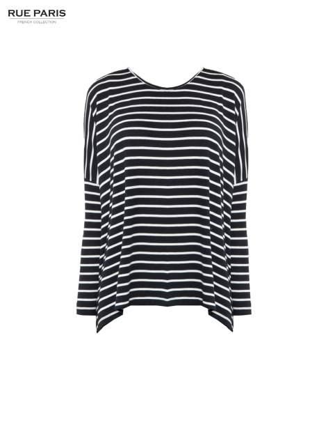 Granatowy sweter w białe paski o kroju oversize                                  zdj.                                  5