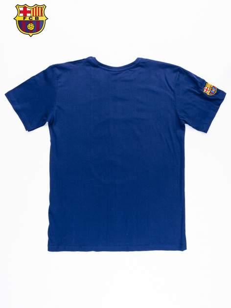 Granatowy t-shirt męski z motywem FC BARCELONA                                  zdj.                                  10