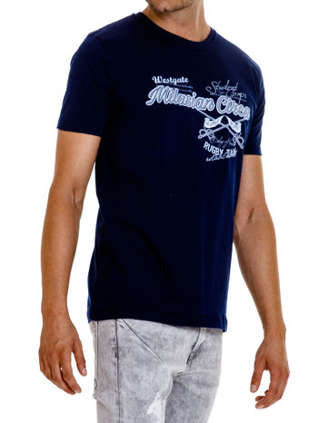 Granatowy t-shirt męski z nadrukiem napisów w sportowym stylu                                  zdj.                                  4
