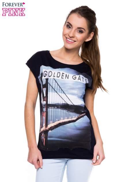 Granatowy t-shirt z nadrukiem San Francisco