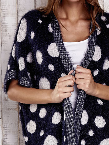 Granatowy włochaty sweter w grochy                                  zdj.                                  5