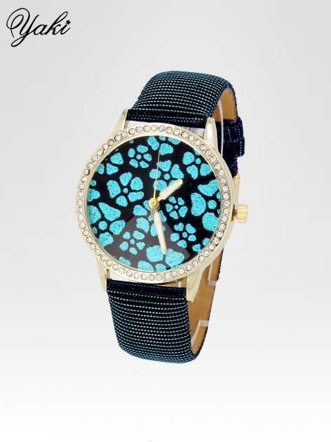 Granatowy zegarek damski na błyszczącym paski z cyrkoniami na kopercie                                  zdj.                                  2