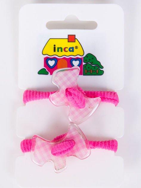 INCA Gumki do włosów różowe z ozdobą Komplet 2 szt                              zdj.                              1