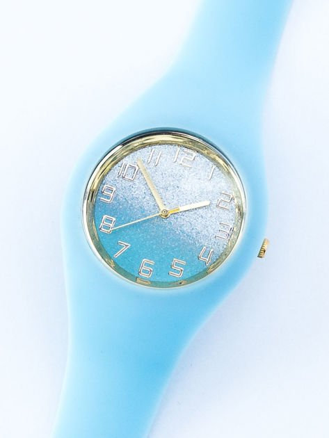 JELLY błękitny zegarek damski z tarczą glitter ombre