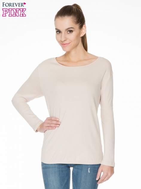 Jasnobeżowa bawełniana bluzka z gumką na dole                                  zdj.                                  1