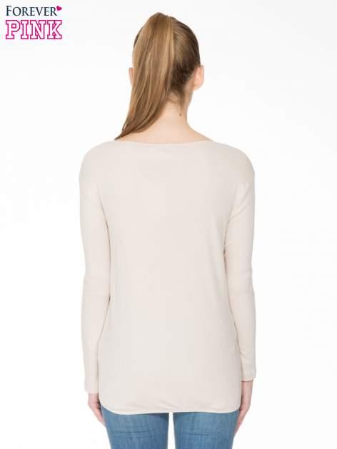 Jasnobeżowa bawełniana bluzka z gumką na dole                                  zdj.                                  4