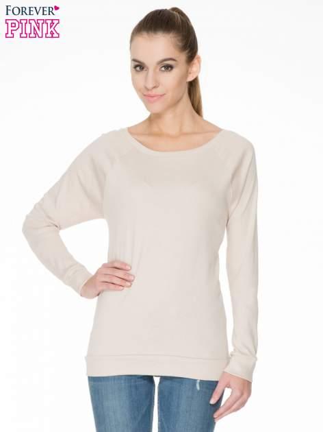 Jasnobeżowa bawełniana bluzka z rękawami typu reglan