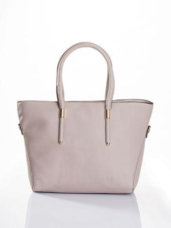 Jasnobeżowa torba shopper efekt saffiano