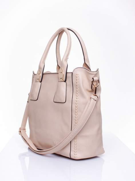 Jasnobeżowa torba shopper ze stębnowaniem                                  zdj.                                  2