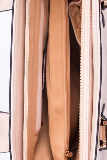 Jasnobeżowa torba shopper ze stębnowaniem                                  zdj.                                  4