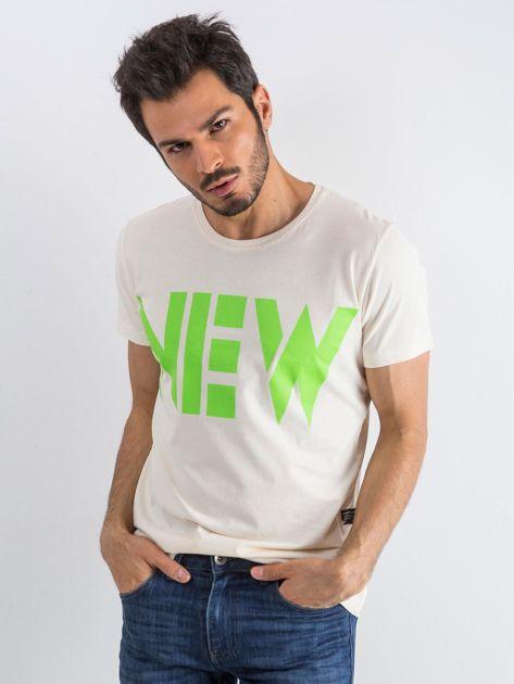 Jasnobeżowy męski t-shirt Public                              zdj.                              1