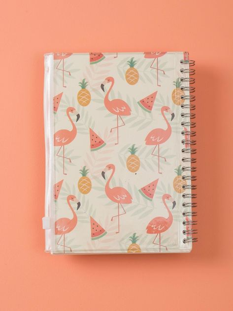 Jasnobeżowy notes we flamingi                              zdj.                              2