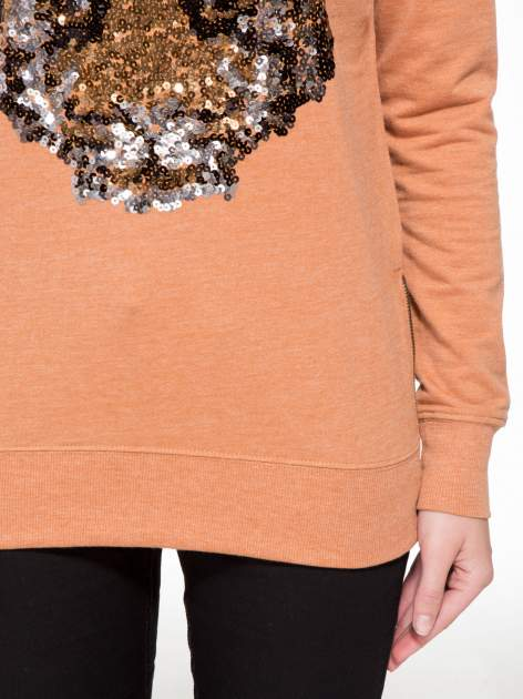 Jasnobrązowa bluza z aplikacją tygrysa z cekinów                                  zdj.                                  6