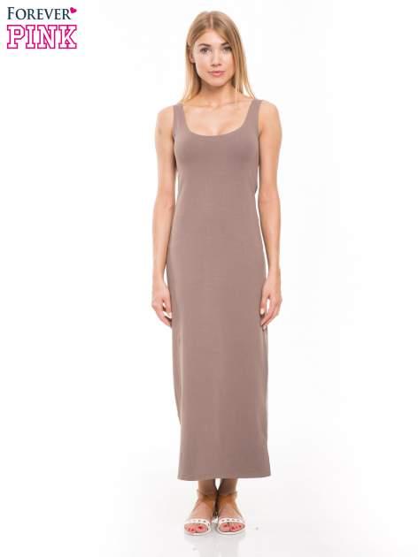 Jasnobrązowa długa sukienka maxi na ramiączkach                                  zdj.                                  1