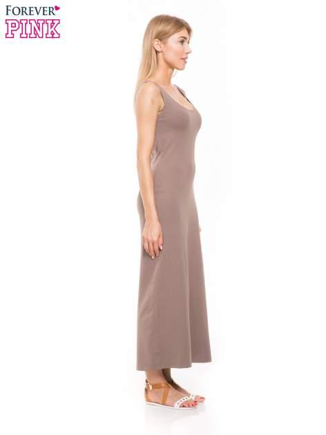 Jasnobrązowa długa sukienka maxi na ramiączkach                                  zdj.                                  3