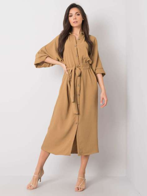 Jasnobrązowa sukienka Emerilda RUE PARIS