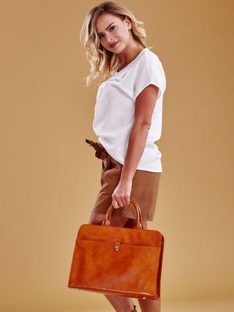 Jasnobrązowa torba damska ze skóry w miejskim stylu                              zdj.                              5