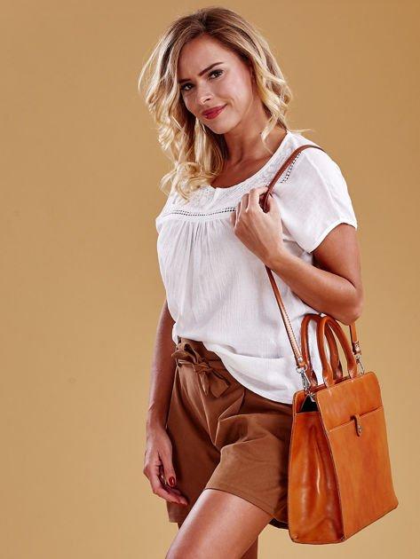 Jasnobrązowa torba damska ze skóry w miejskim stylu                              zdj.                              8
