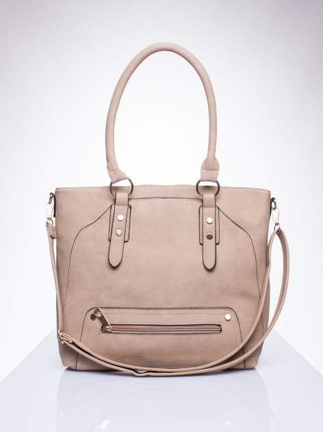 Jasnobrązowa torba shopper bag z suwakiem