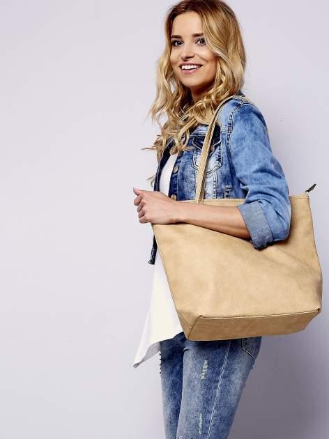 Jasnobrązowa torebka shopper bag z kokardką                                  zdj.                                  6