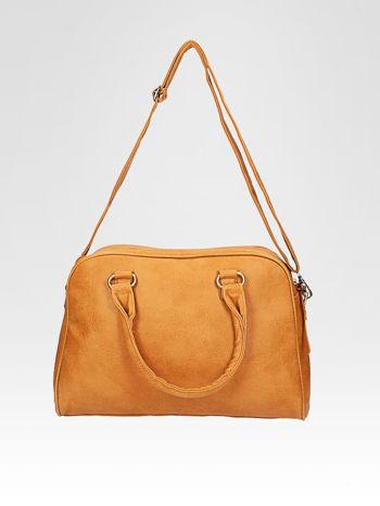 Jasnobrązowa torebka typu miękki kuferek z dodatkowym paskiem                                  zdj.                                  5