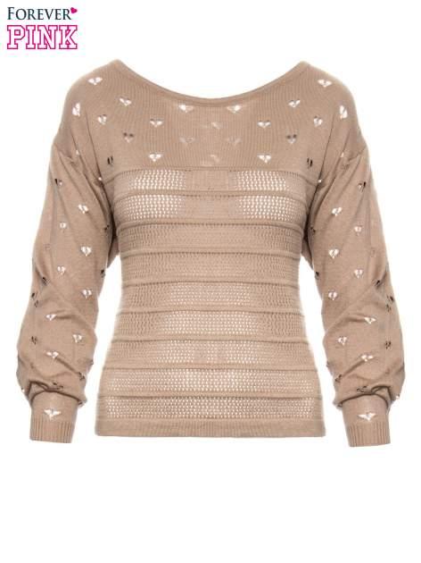 Jasnobrązowy ażurowy sweter w serduszka                                  zdj.                                  2