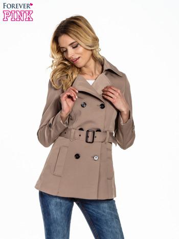 Jasnobrązowy krótki płaszcz trencz                                  zdj.                                  1