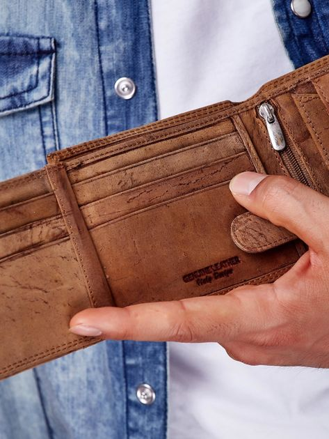 Jasnobrązowy portfel męski ze skóry naturalnej                               zdj.                              3