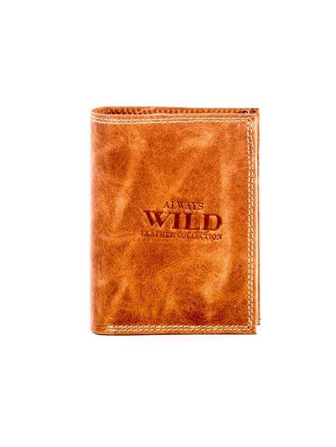 Jasnobrązowy skórzany portfel z cieniowaniem