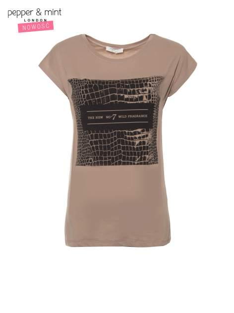 Jasnobrązowy t-shirt z motywem zwierzęcym                                  zdj.                                  2