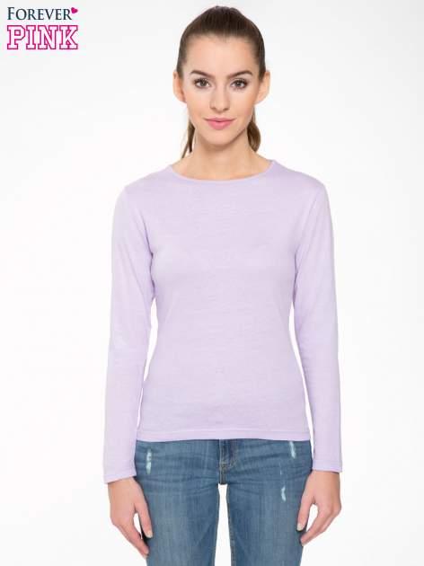 Jasnofioletowa bawełniana bluzka typu basic z długim rękawem                                  zdj.                                  1