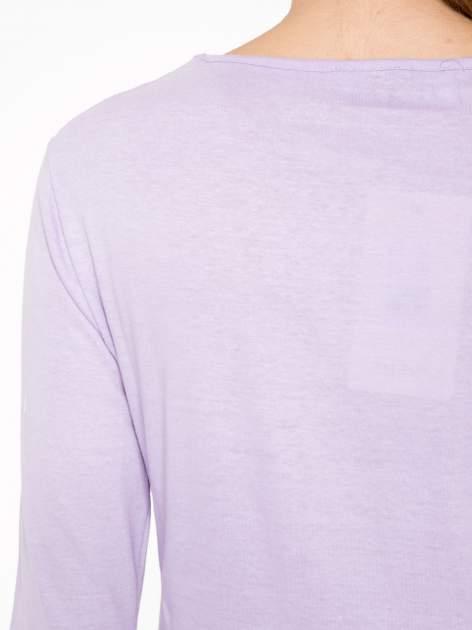 Jasnofioletowa bawełniana bluzka typu basic z długim rękawem                                  zdj.                                  7