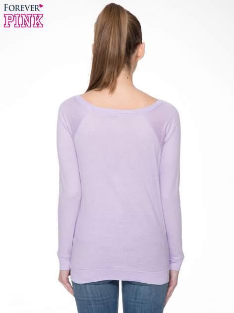 Jasnofioletowa bawełniana bluzka z rękawami typu reglan                                  zdj.                                  4