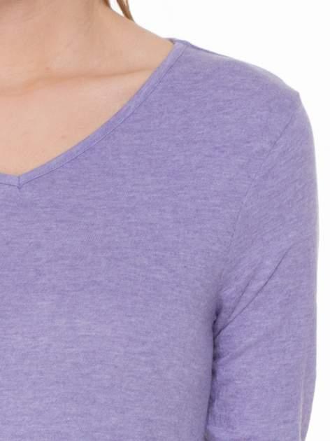 Jasnofioletowa bluzka z długim rękawem z bawełny                                  zdj.                                  5