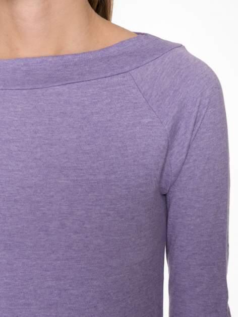 Jasnofioletowa gładka bluzka z reglanowymi rękawami                                  zdj.                                  5