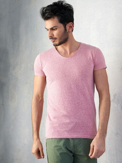 Jasnofioletowy melanżowy t-shirt męski