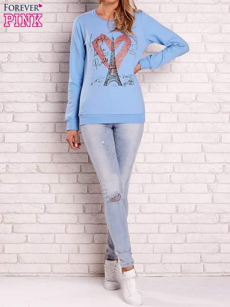 Jasnoniebieska bluza z motywem paryskim                                  zdj.                                  2