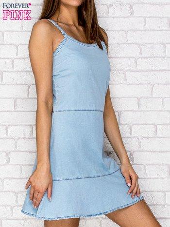 Jasnoniebieska denimowa sukienka na ramiączkach                                  zdj.                                  3