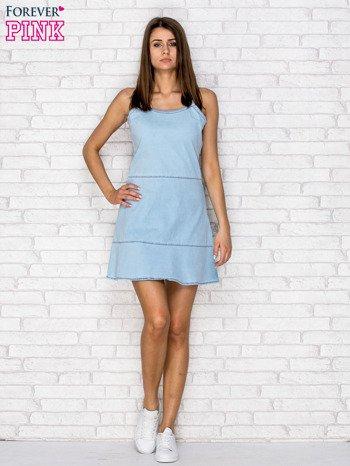 Jasnoniebieska denimowa sukienka na ramiączkach                                  zdj.                                  4