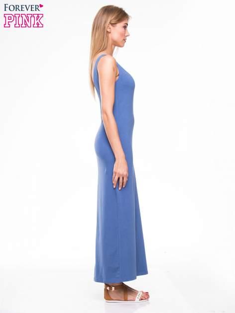 Jasnoniebieska długa sukienka maxi na ramiączkach                                  zdj.                                  3