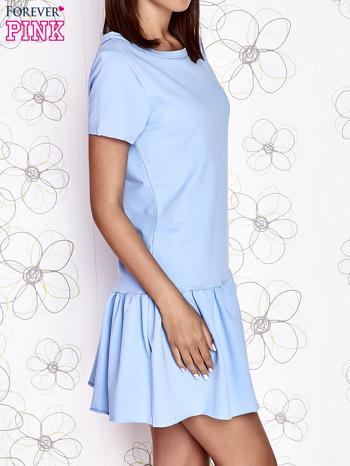 Jasnoniebieska dresowa sukienka z wycięciem na plecach                                   zdj.                                  3