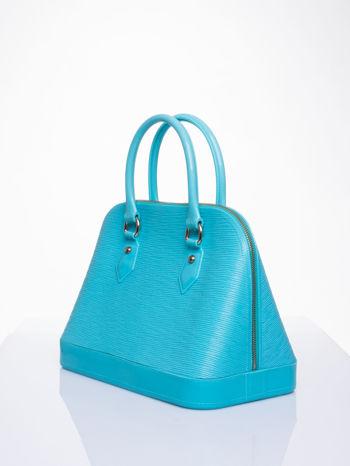 Jasnoniebieska fakturowana torba gumowa kuferek z rączką                                  zdj.                                  2