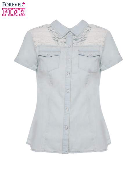 Jasnoniebieska jeansowa koszula na krótki rękaw z koronką                                  zdj.                                  4