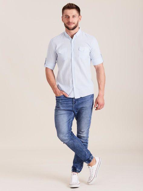 Jasnoniebieska koszula męska z bawełny                              zdj.                              4
